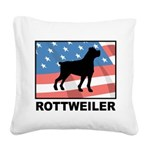 Patriotic Rottweiler Square Canvas Pillow