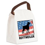 Patriotic Rottweiler Canvas Lunch Bag