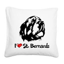 I Love St. Bernard Square Canvas Pillow