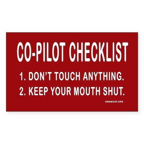 Co-Pilot Checklist Rectangle Sticker