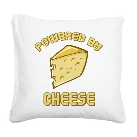 Powered By Cheese Square Canvas Pillow