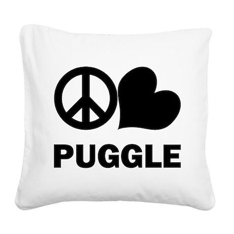 Peace Love Puggle Square Canvas Pillow