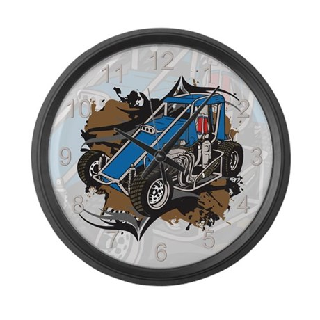 Midget Racing Large Wall Clock