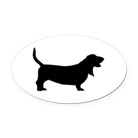 basset hound black.png Oval Car Magnet