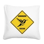 crossing-sign-hummingbird.png Square Canvas Pillow