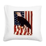 Bald Eagle and Flag Square Canvas Pillow