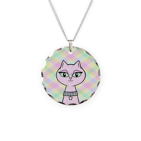Pink Kitty Necklace Circle Charm