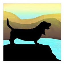 "Basset Hound By The Sea Square Car Magnet 3"" x 3"""