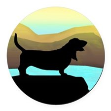 Basset Hound By The Sea Round Car Magnet