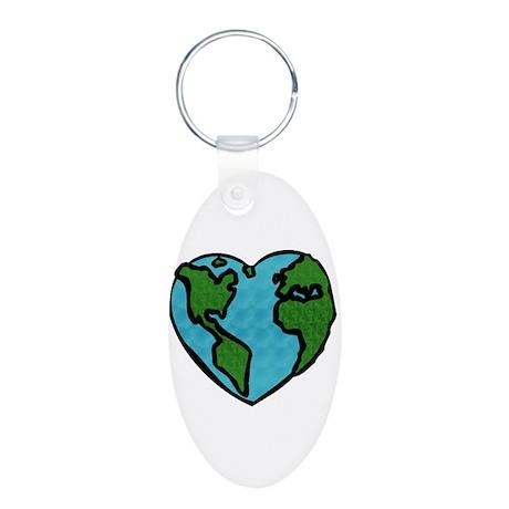 Earth Day Aluminum Oval Keychain