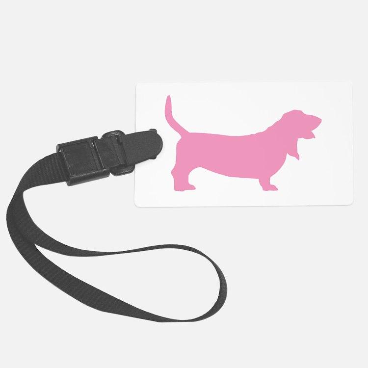 basset hound pink.png Luggage Tag