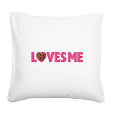FIN-loves-me-SHOULDERS.png Square Canvas Pillow
