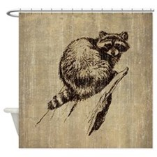 Vintage Raccoon Shower Curtain