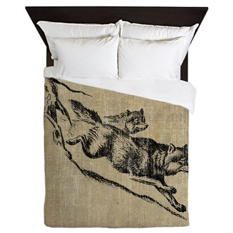 Vintage Wolves Queen Duvet