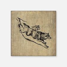 "Vintage Wolves Square Sticker 3"" x 3"""