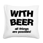 FIN-beer-all-things... Square Canvas Pillow