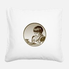 FIN-child-saying-grace.png Square Canvas Pillow