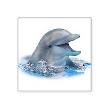 """Happy Dolphin Square Sticker 3"""" x 3"""""""