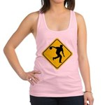 FIN-bowling-crossing-sign.png Racerback Tank Top