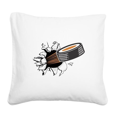 FIN-hockey-puck-tearing.png Square Canvas Pillow