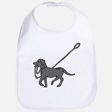 Black and white dog with leash in mouth Bib