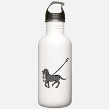 Black and white dog with leash in mouth Water Bottle