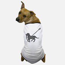 Black and white dog with leash in mouth Dog T-Shir