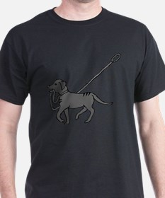 Black and white dog with leash in mouth T-Shirt