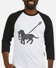 Black and white dog with leash in mouth Baseball J
