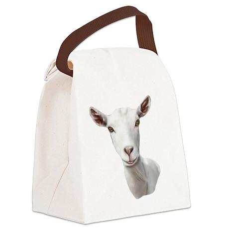 Goat-Portrait-Saanen.png Canvas Lunch Bag