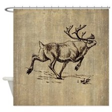 Vintage Reindeer Shower Curtain