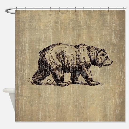 Vintage Bear Shower Curtain
