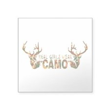 "REAL GIRLS WEAR CAMO Square Sticker 3"" x 3&qu"
