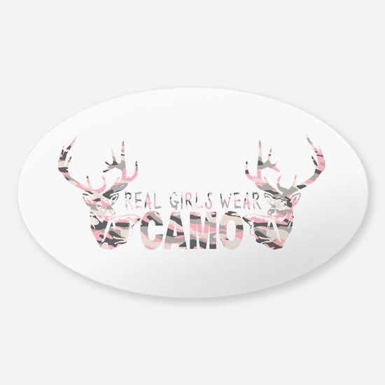 REAL GIRLS WEAR CAMO Sticker (Oval)