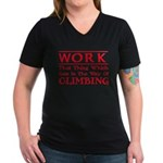 Work and Climbing Women's V-Neck Dark T-Shirt