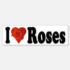 I Love Roses Bumper Sticker with Red Heart Rose