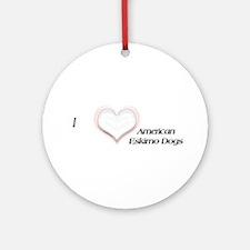 I heart Eskimo Dogs Ornament (Round)