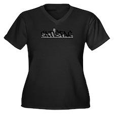 Satisfac Women's Plus Size V-Neck Dark T-Shirt