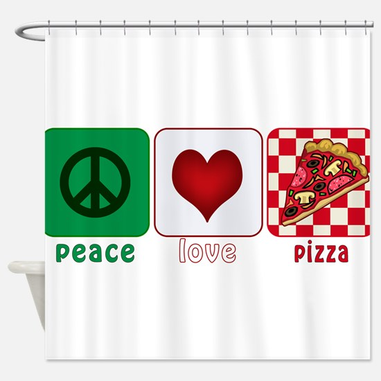 PeaceLovePizza.png Shower Curtain