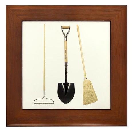 Gardening Tools Framed Tile