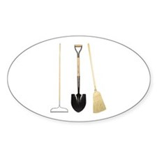 Gardening Tools Oval Decal
