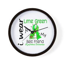 I Wear Lime 43 Lymphoma Wall Clock
