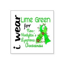 "I Wear Lime 43 Lymphoma Square Sticker 3"" x 3"""