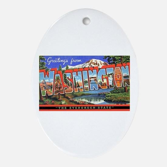 Washington State Greetings Oval Ornament