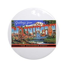 Washington State Greetings Ornament (Round)