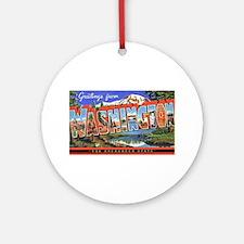 Washington State Greetings Ornament (Round)