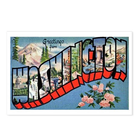 Washington state greetings postcards package of 8 by w2arts