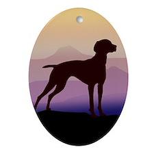 vizsla dog w/purple mountains Oval Ornament