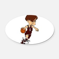 32211642_CRIMSON.png Oval Car Magnet