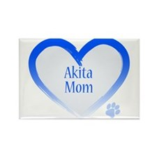 Akita Blue Heart Rectangle Magnet (10 pack)